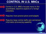 control in u s mncs
