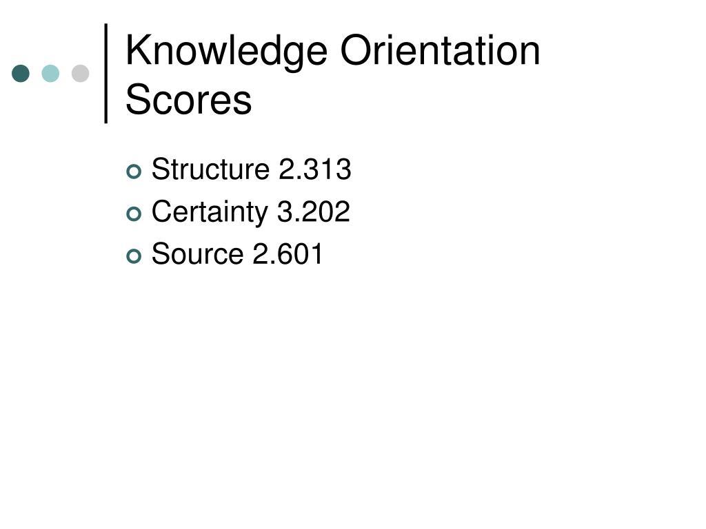 Knowledge Orientation Scores