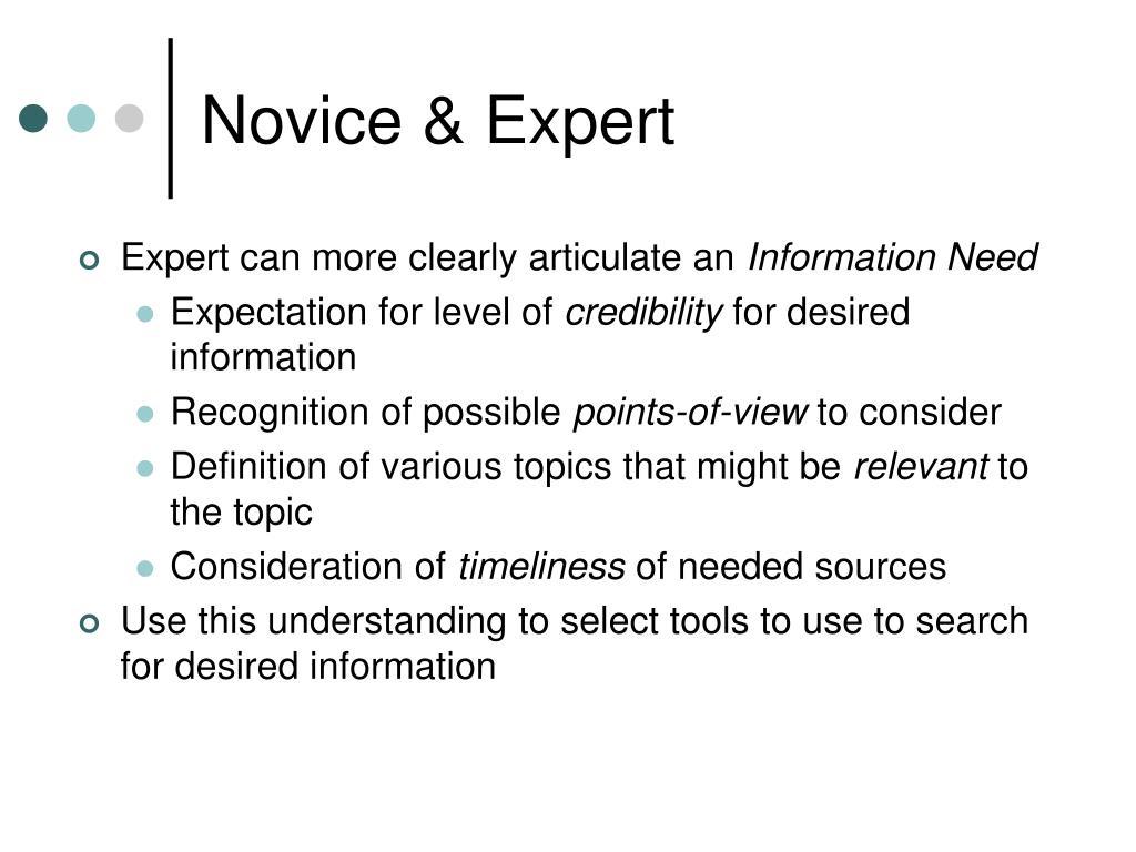 Novice & Expert
