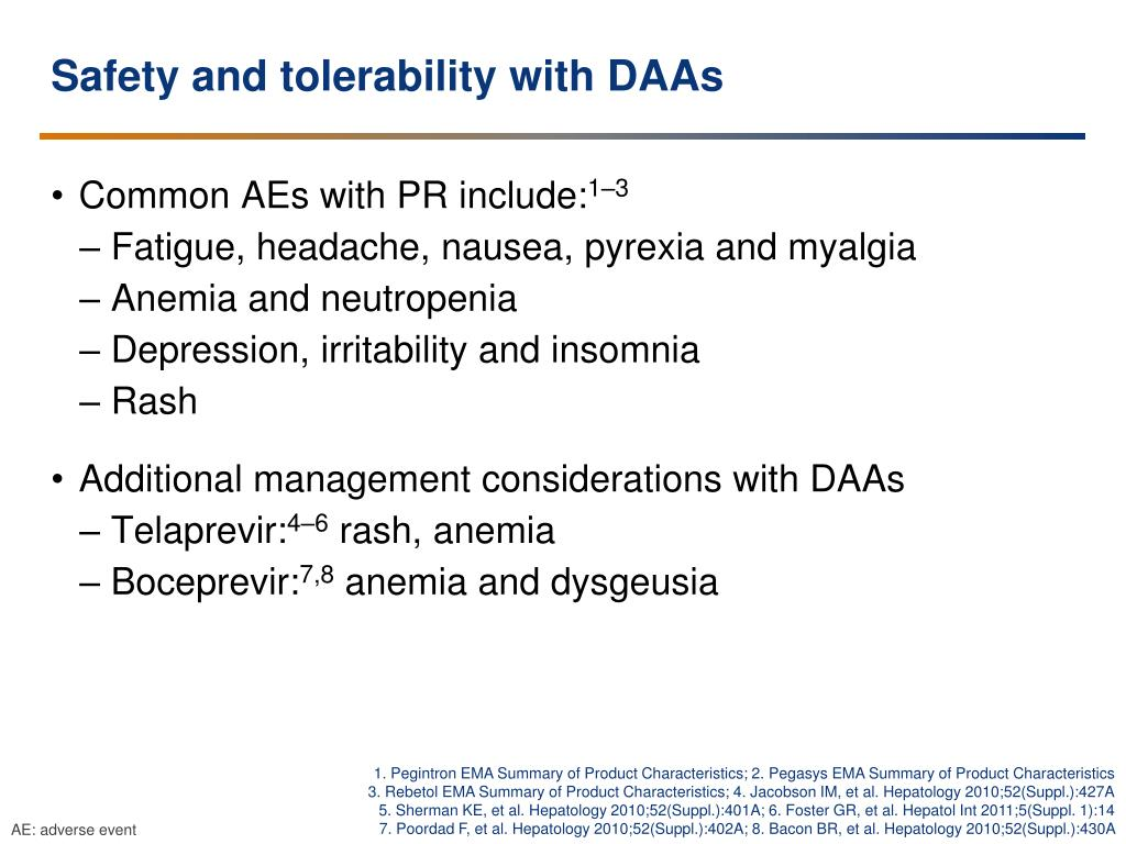 Safety and tolerability with DAAs