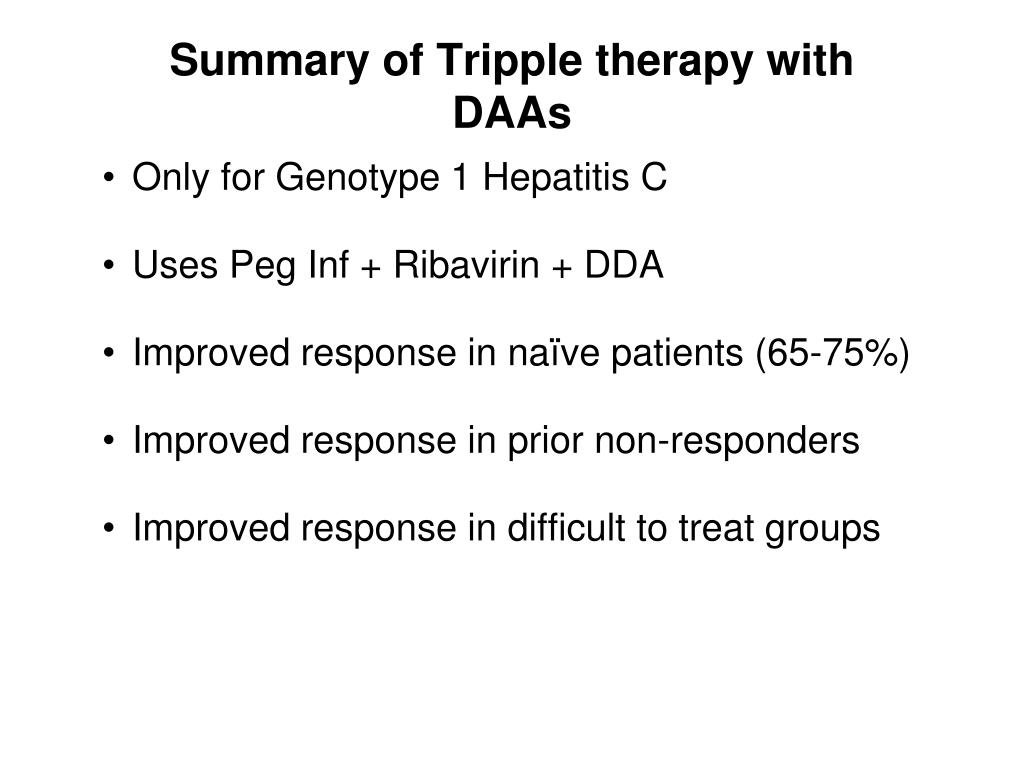 Summary of Tripple therapy with DAAs