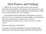 ada purpose and findings