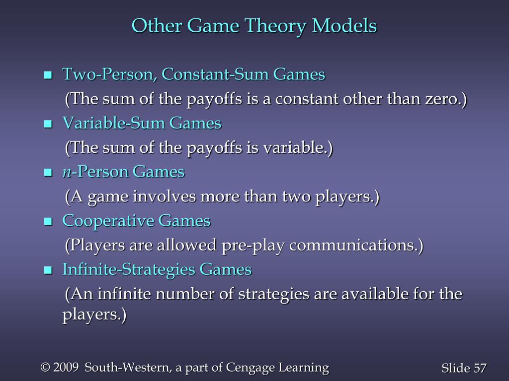 Other Game Theory Models