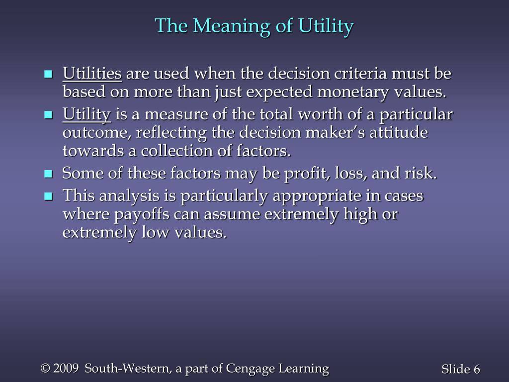 The Meaning of Utility