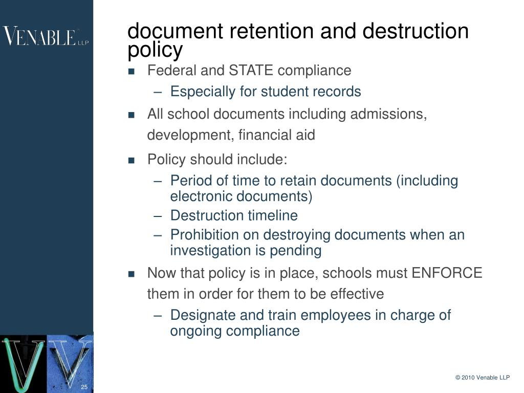 document retention and destruction policy