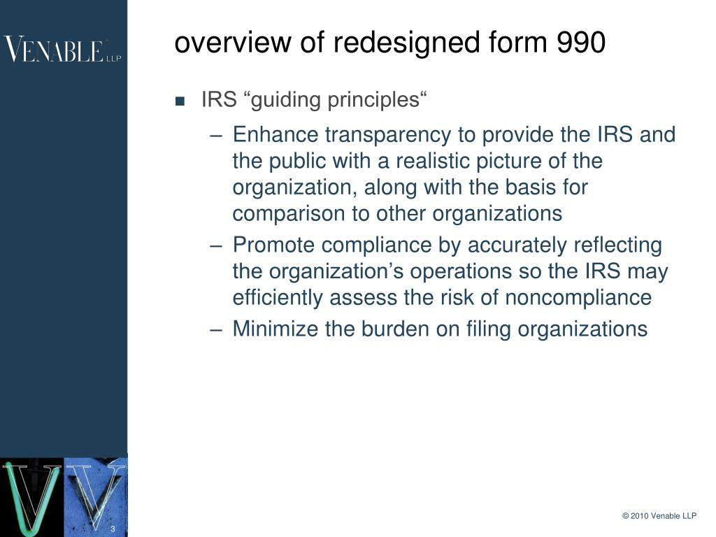 overview of redesigned form 990