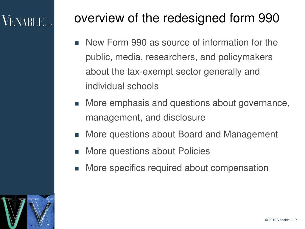 overview of the redesigned form 990