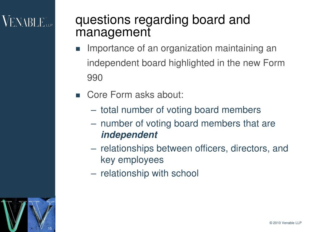 questions regarding board and management