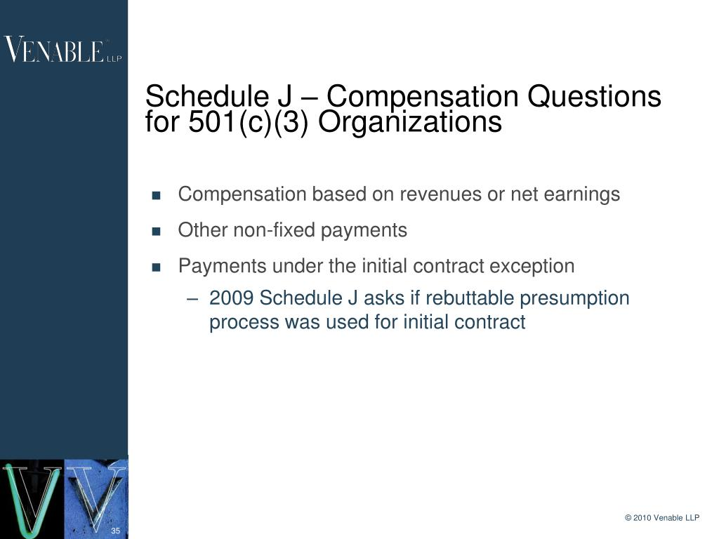 Schedule J – Compensation Questions for 501(c)(3) Organizations
