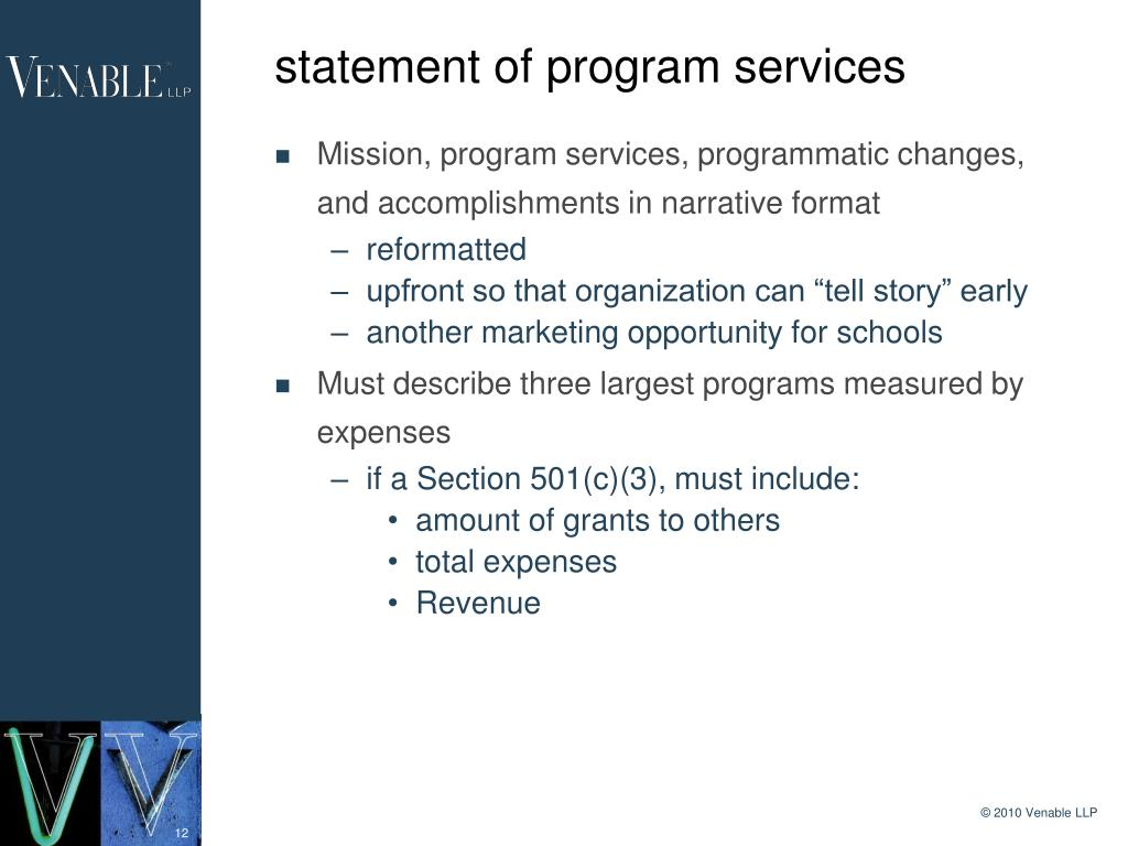 statement of program services