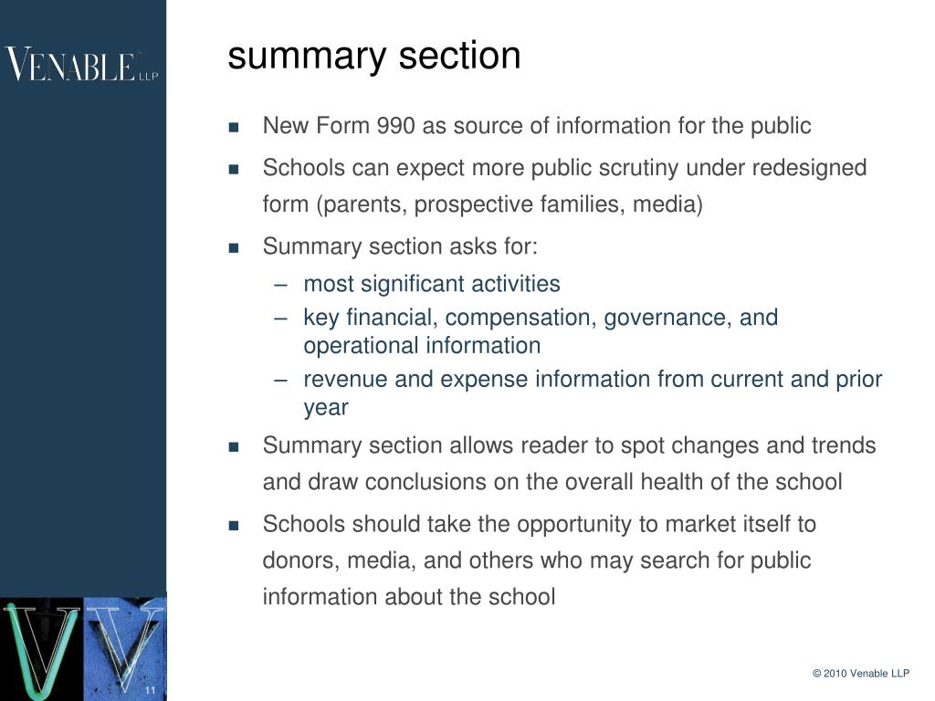 summary section