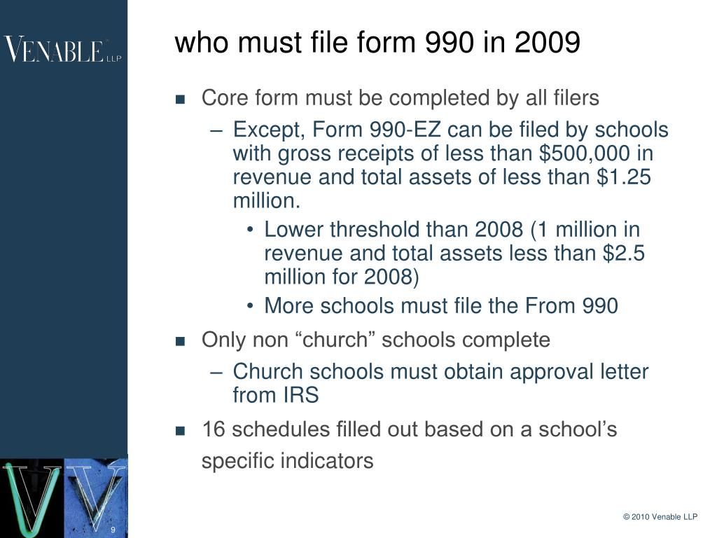 who must file form 990 in 2009