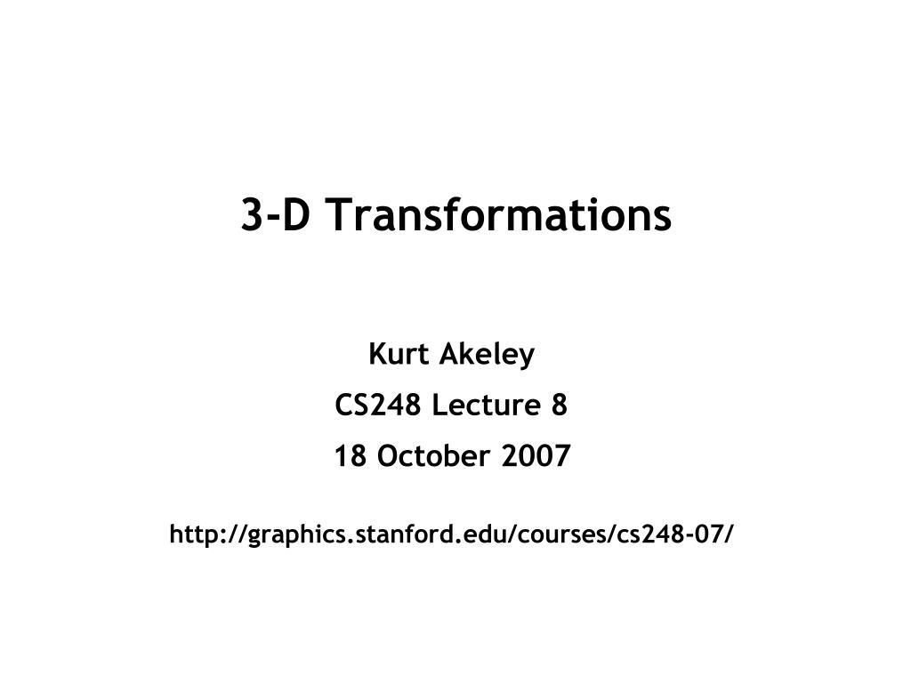 3-D Transformations