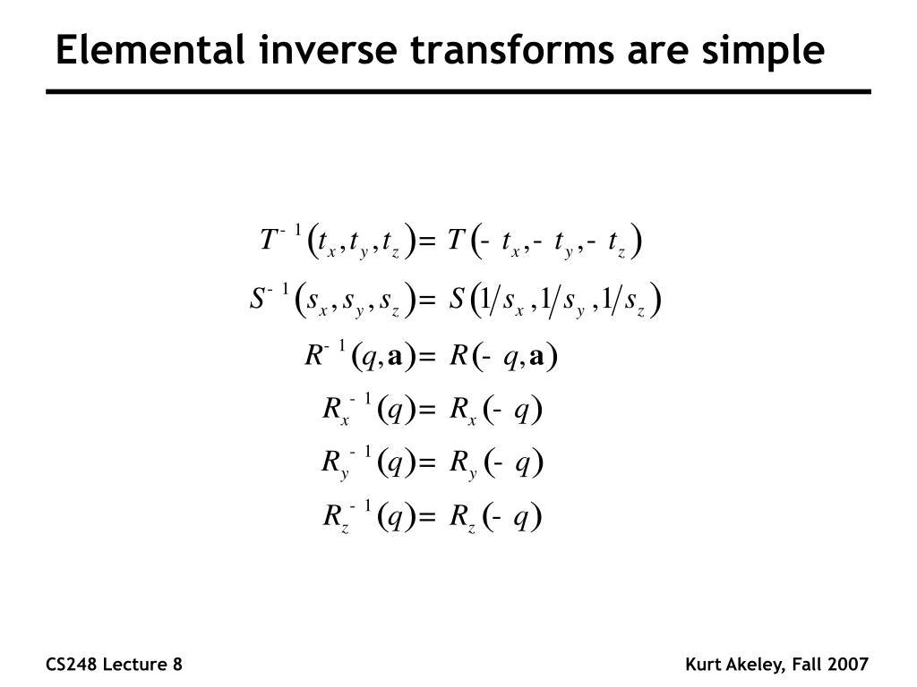Elemental inverse transforms are simple
