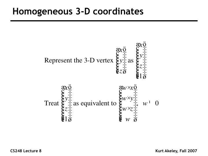 Homogeneous 3 d coordinates
