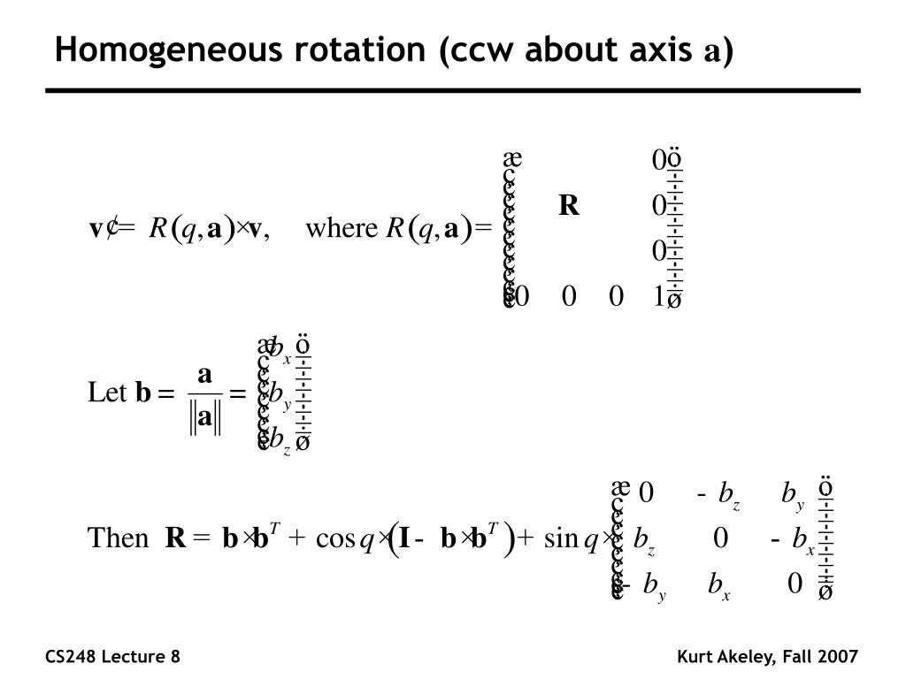 Homogeneous rotation (ccw about axis
