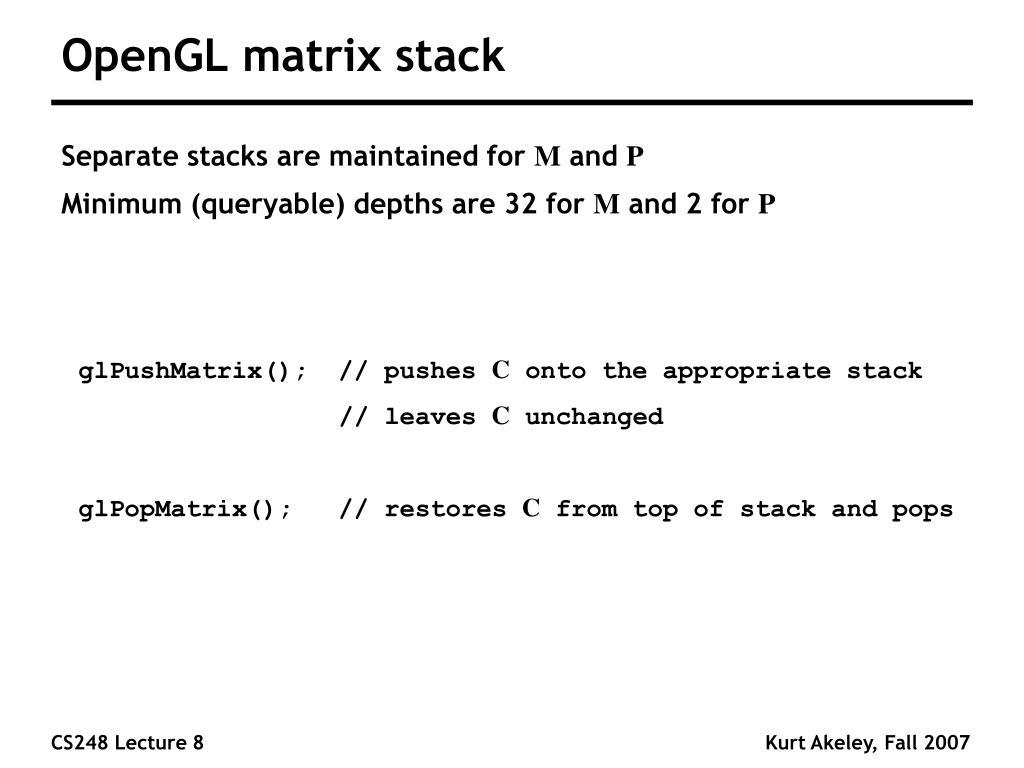 OpenGL matrix stack