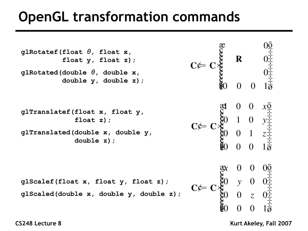 OpenGL transformation commands