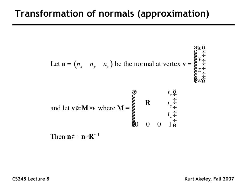 Transformation of normals (approximation)