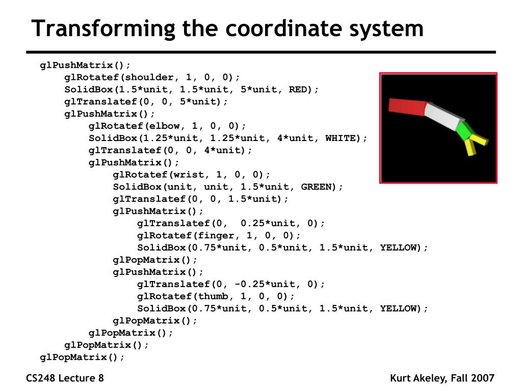 Transforming the coordinate system