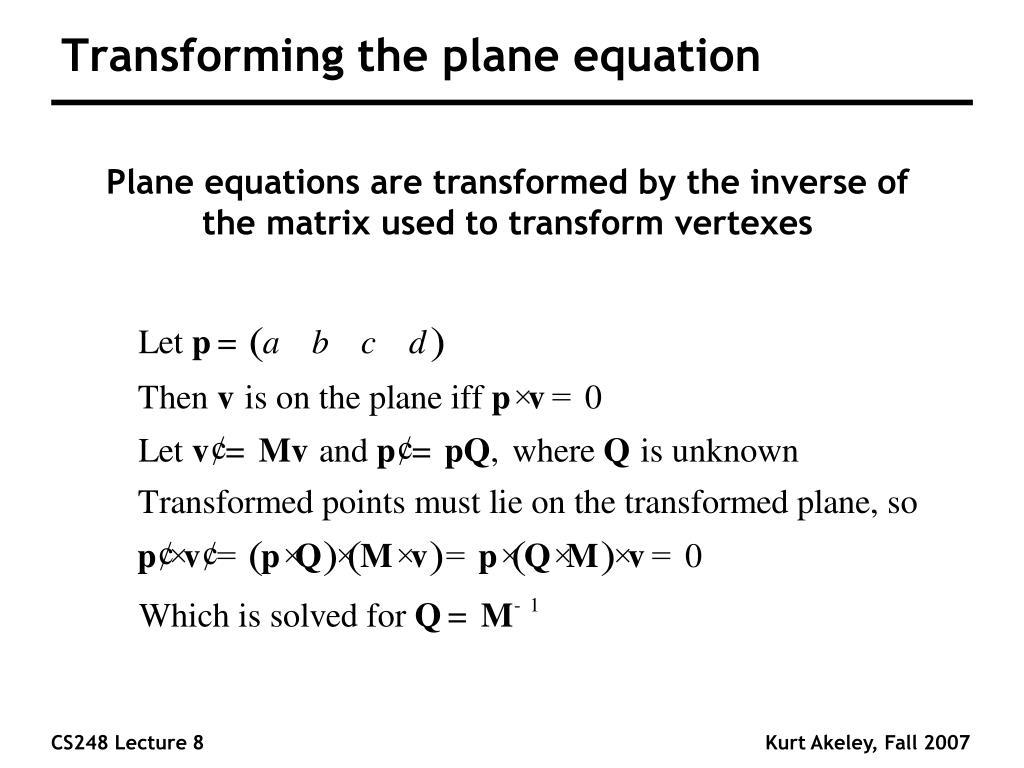 Transforming the plane equation