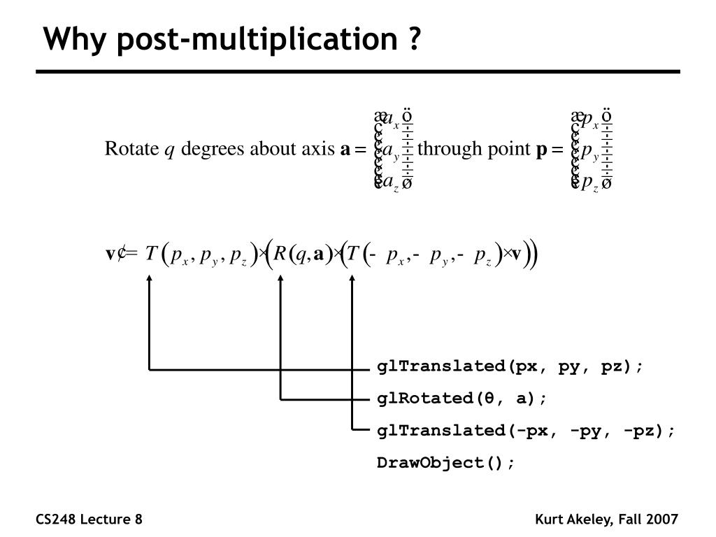 Why post-multiplication ?