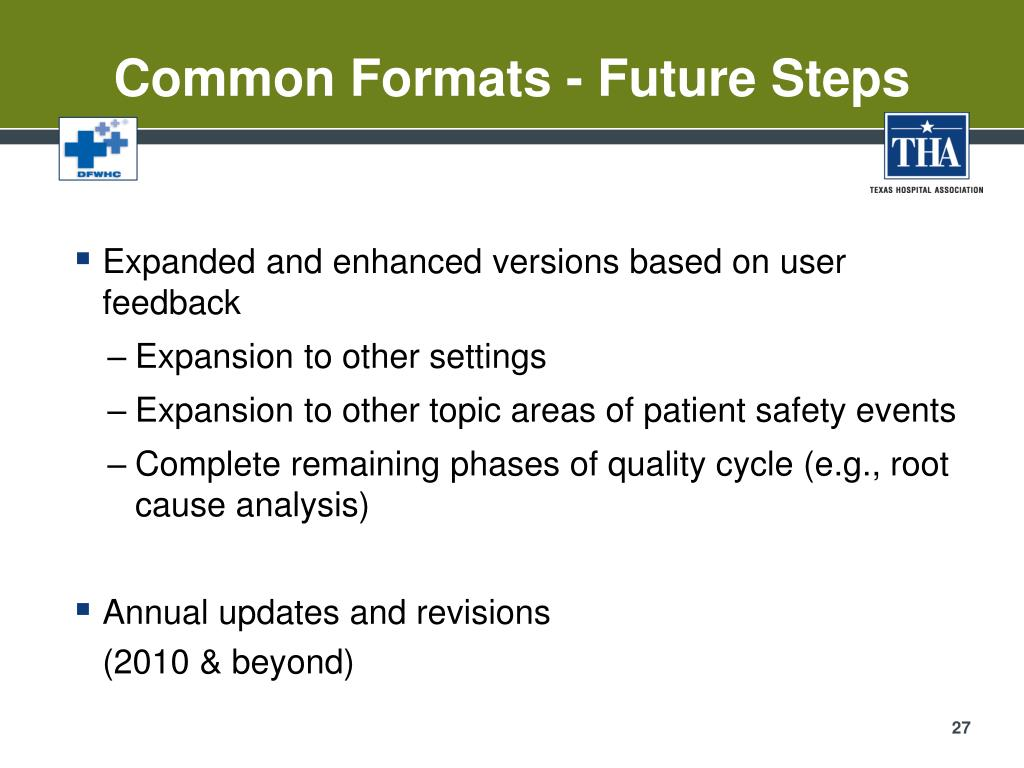 Common Formats - Future Steps