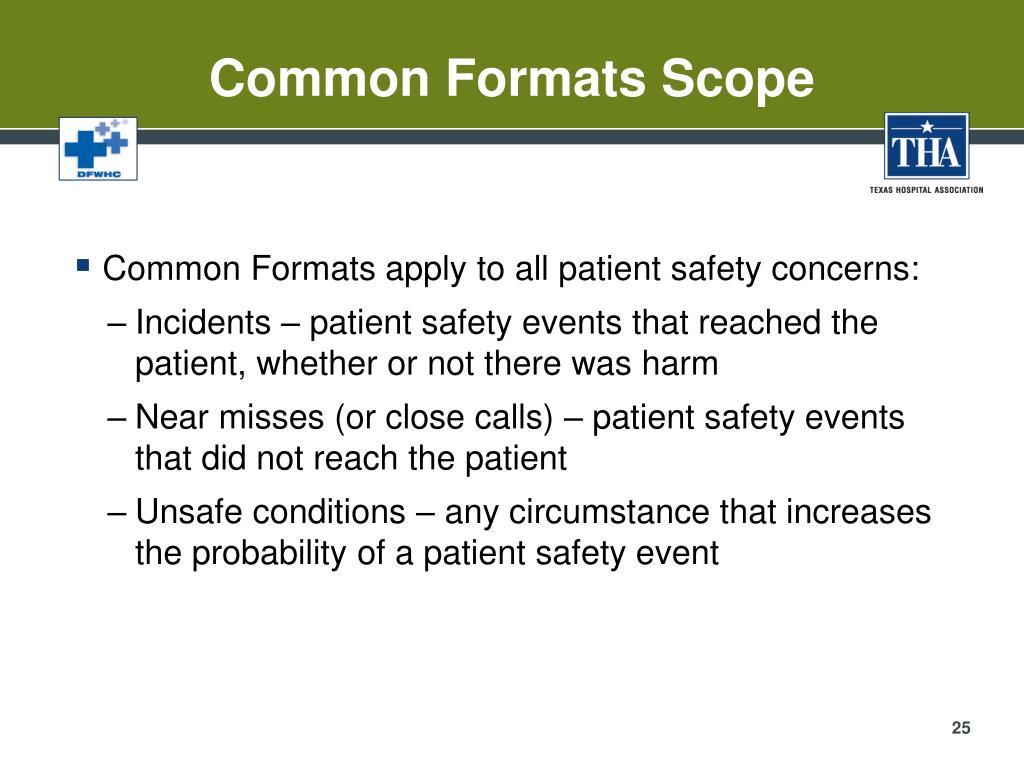 Common Formats Scope