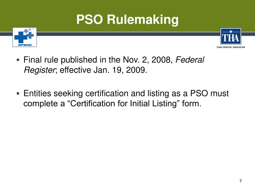 PSO Rulemaking