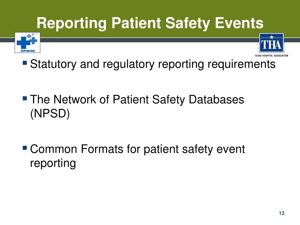Reporting Patient Safety Events