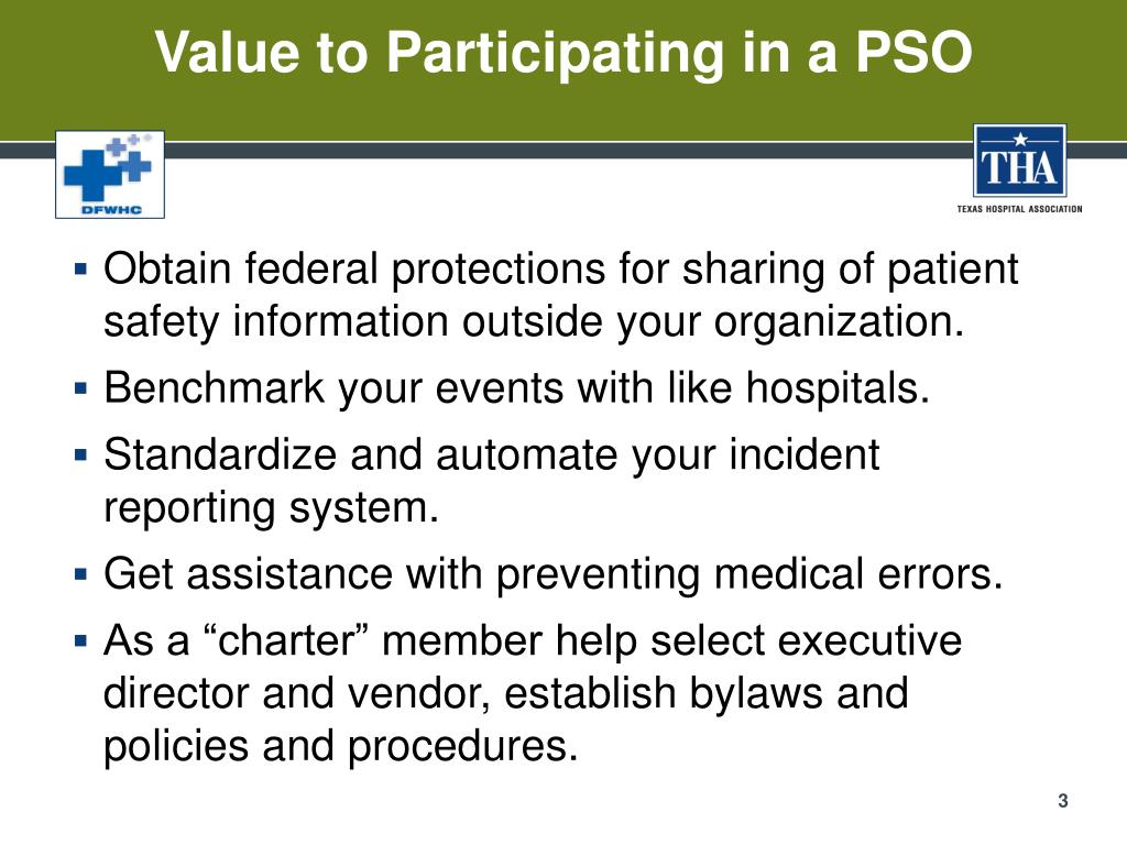 Value to Participating in a PSO