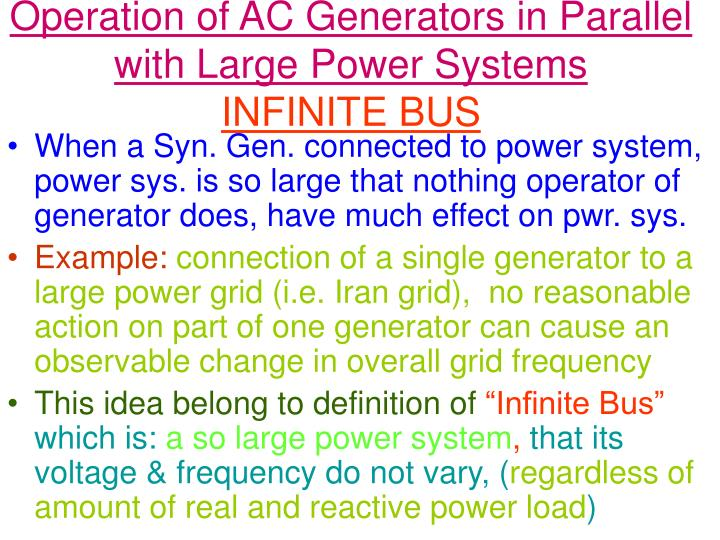 Operation of ac generators in parallel with large power systems infinite bus
