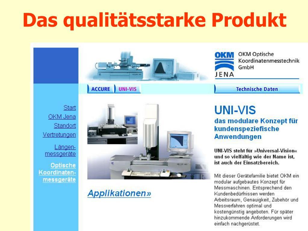 Das qualitätsstarke Produkt