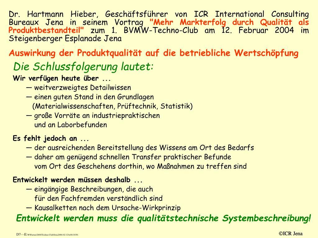 Dr. Hartmann Hieber, Geschäftsführer von ICR International Consulting Bureaux Jena in seinem Vortrag