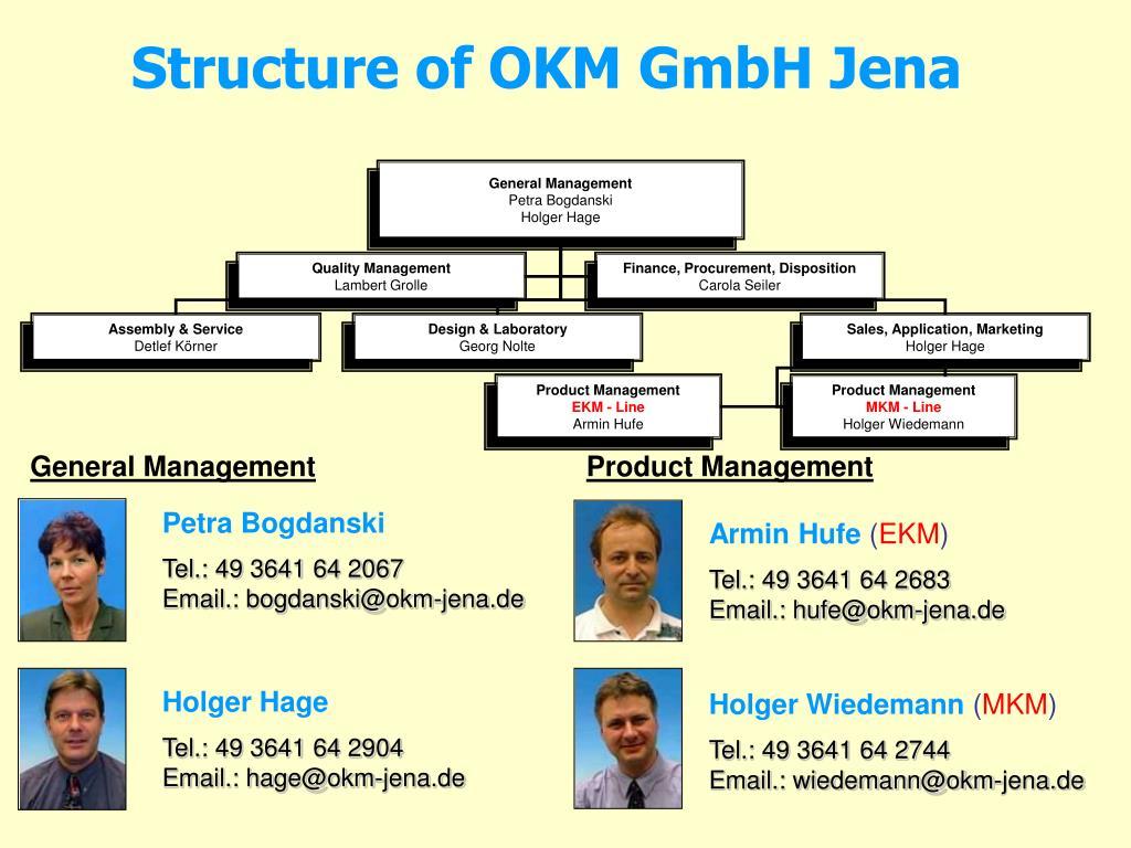 Structure of OKM GmbH Jena