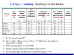 example 4 reading qualifying for safe harbor