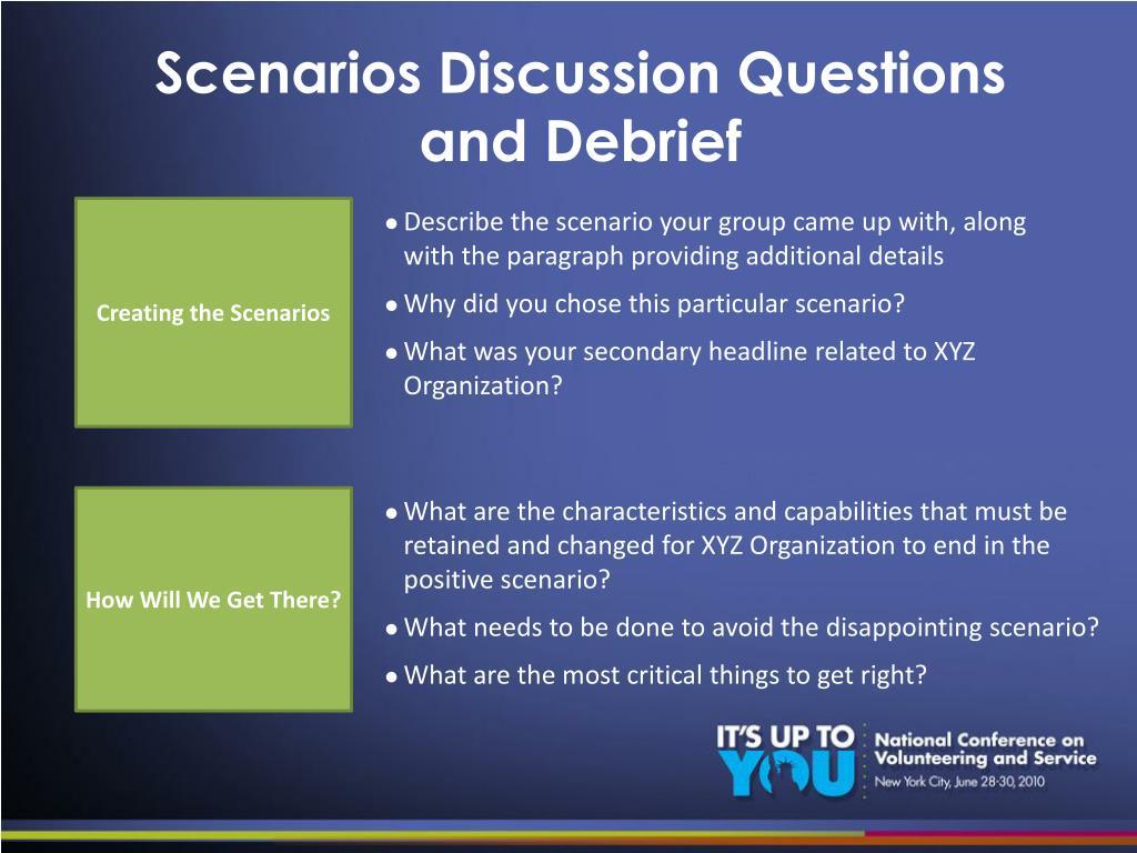 Scenarios Discussion Questions