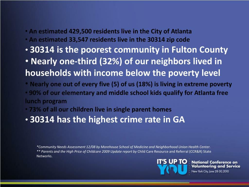 An estimated 429,500 residents liveinthe City of Atlanta