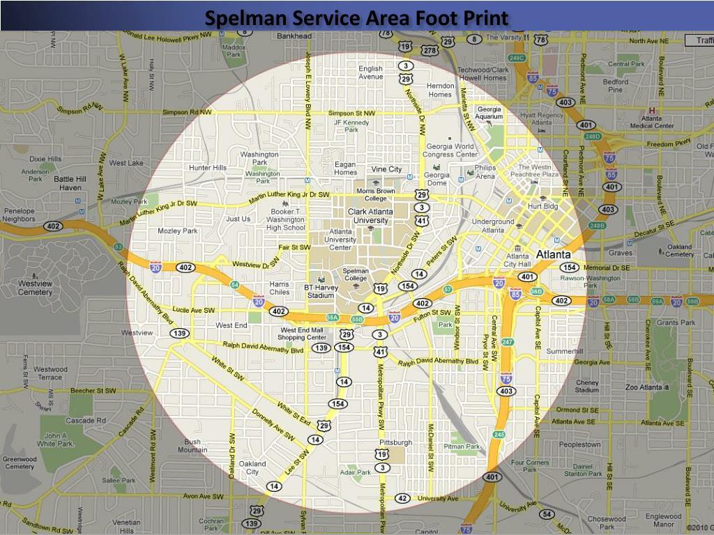 Spelman Service Area Foot Print