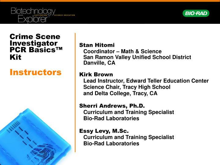 Crime scene investigator pcr basics kit instructors