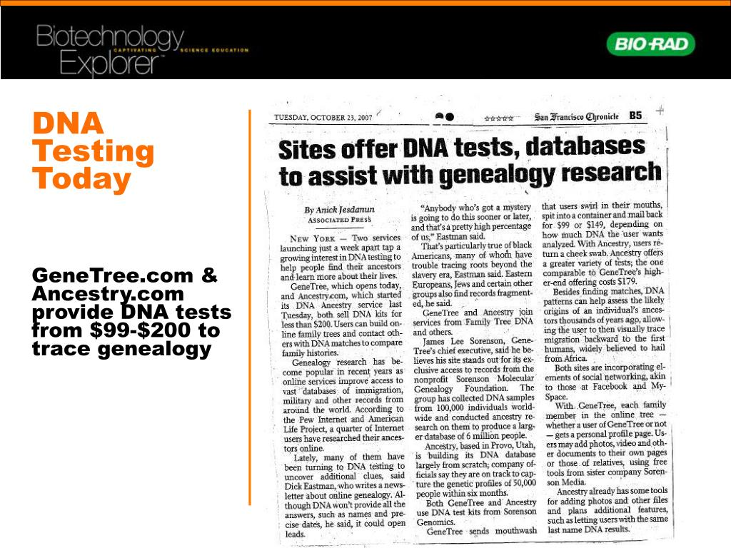 DNA Testing Today