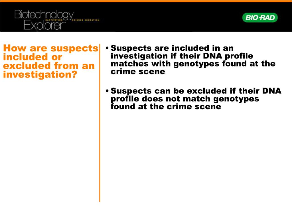 How are suspects included or excluded from an investigation?