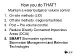 how you do that maintain a water budget or volume control