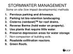 stormwater management some on site low impact developments methods