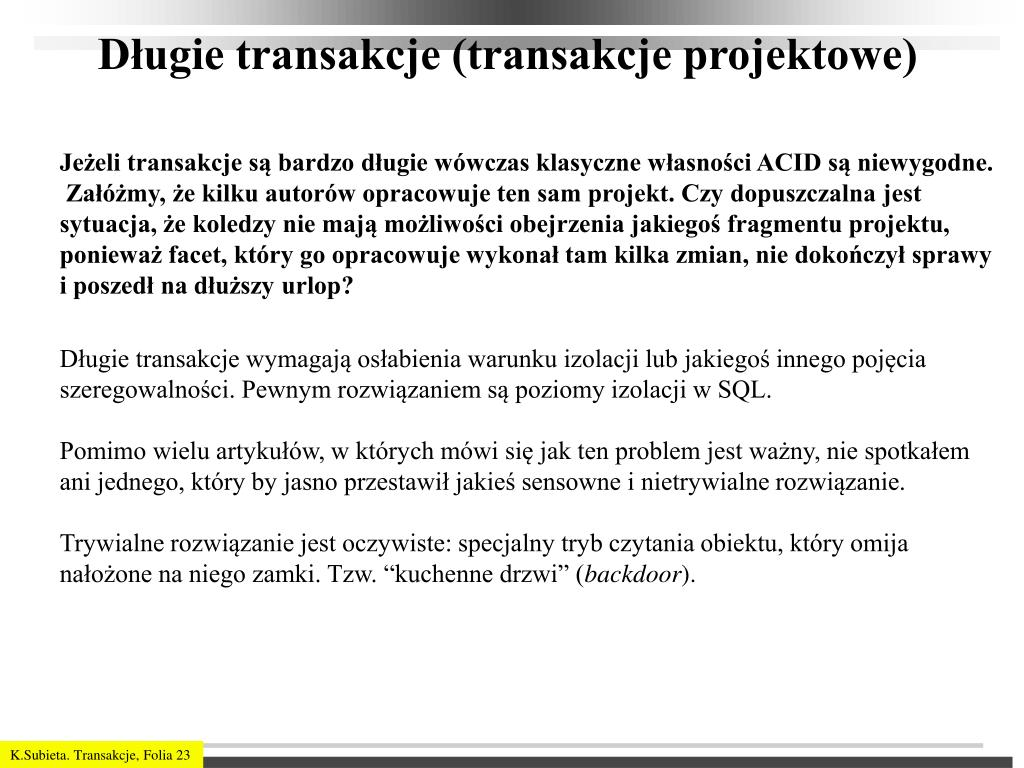 Długie transakcje (transakcje projektowe)