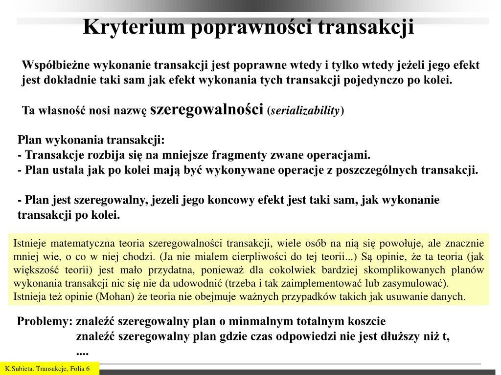 Kryterium poprawności transakcji