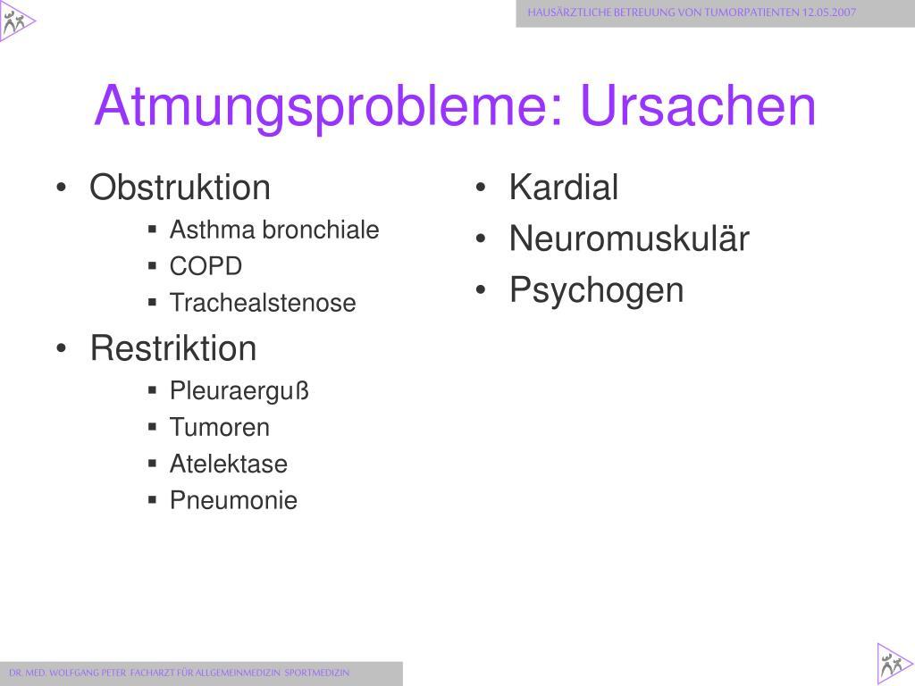 Atmungsprobleme: Ursachen