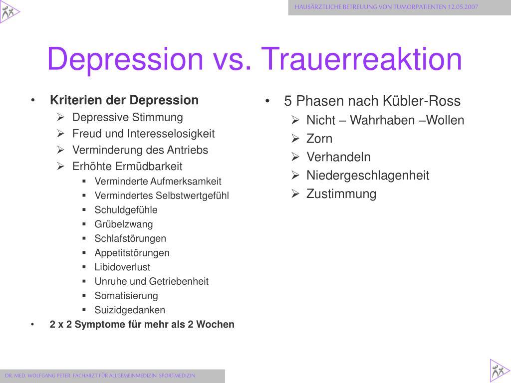 Depression vs. Trauerreaktion