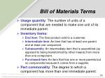 bill of materials terms