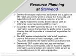 resource planning at starwood